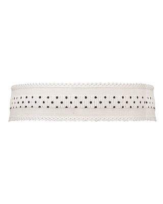 White Fabric Choker Necklace With Polka Design