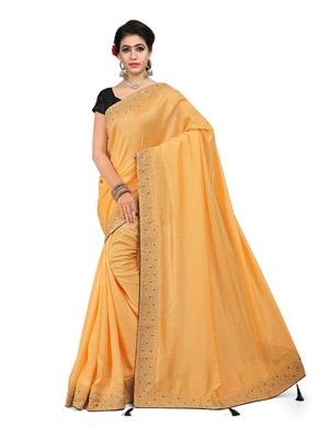 Orange plain art silk saree with blouse