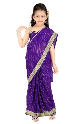 Girls Ready To Wear Stitched  Designer Saree With Stitched Blouse