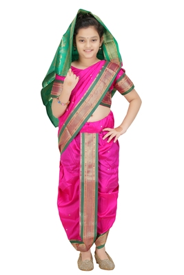 Girls Stitched Traditional Nauwar (9 Yard) Saree With Stitched Blouse