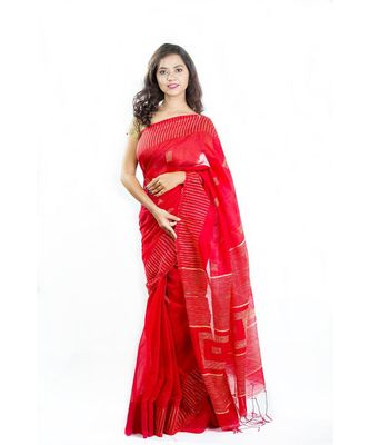 Lady in Red Wrap in 1 Minute Saree