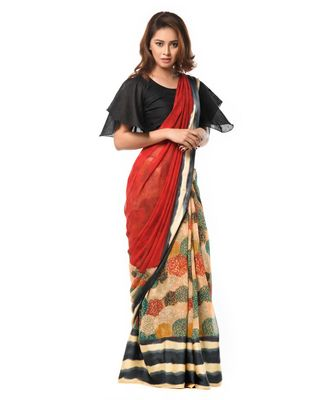 Red and Black bohemian Wrap in 1 Minute Saree
