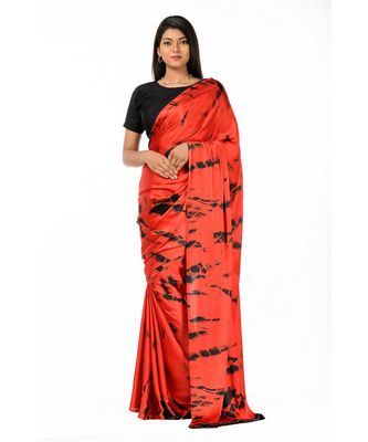 Red and Black crepe Wrap in 1 Minute Saree