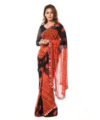 Red and Black Bandhani Wrap in 1 Minute Saree