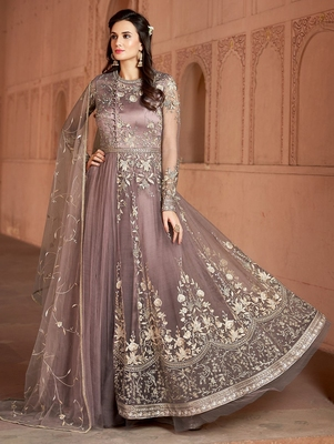 Light-brown embroidered net salwar suit without bottom
