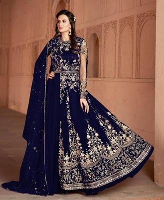 Dark-blue embroidered net salwar suit