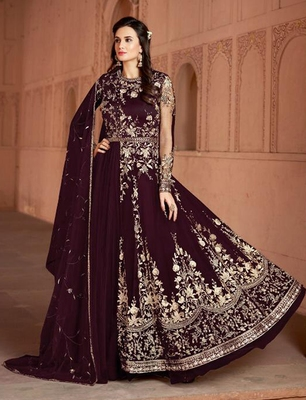 Dark-plum embroidered net salwar suit Without Bottom