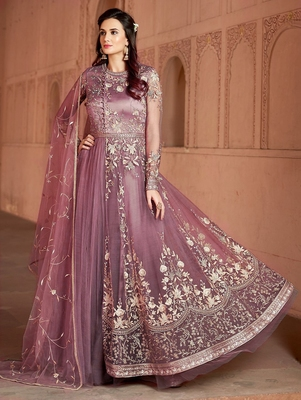 Light-wine embroidered net salwar suit