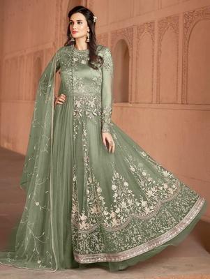 Light-olive embroidered net salwar suit