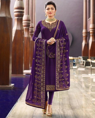 Violet embroidered satin salwar