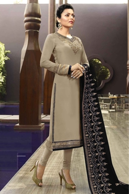 Slate-grey embroidered satin salwar