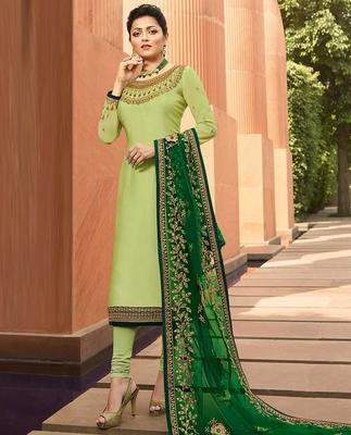Light-parrot-green embroidered satin salwar