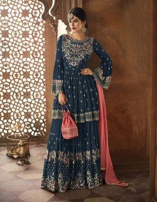 Light-navy-blue embroidered faux georgette salwar