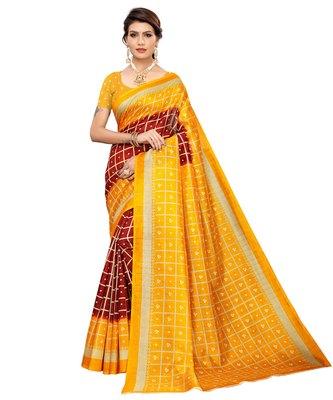 Maroon printed art silk saree with blouse