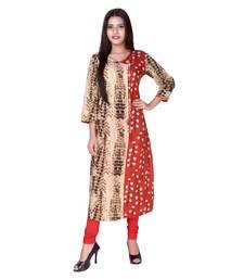 Brown embroidered cotton  ethnic-kurtis
