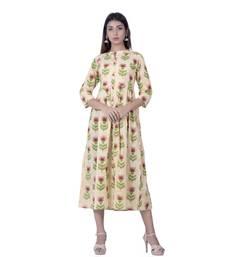 Cream embroidered cotton  ethnic-kurtis
