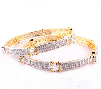 Elegant Gold Plated   Bangles With Butterfly Baguette