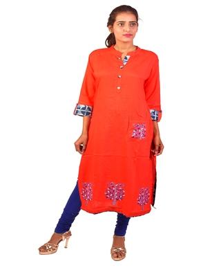 Orange embroidered cotton  ethnic-kurtis