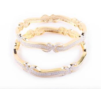Designer Gold Plated  Curvy Bangles