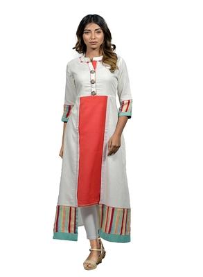 Off white embroidered cotton  ethnic-kurtis