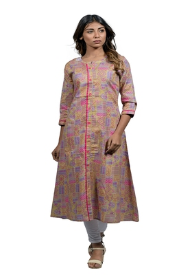 Multicolor embroidered cotton  ethnic-kurtis