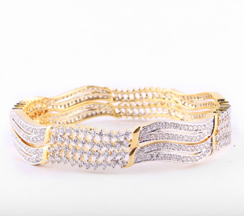Exquisite Gold Platd Bangles with Colet and Bezel  setting