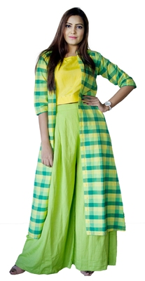 Green embroidered cotton  ethnic-kurtis