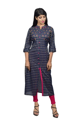 Blue embroidered cotton  ethnic-kurtis