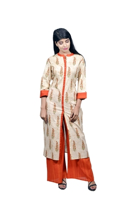 Off white embroidered cotton  ethnic-kurtis