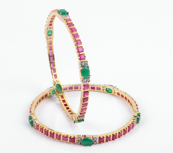 Beautiful Ruby Bangles With Emerald Stones