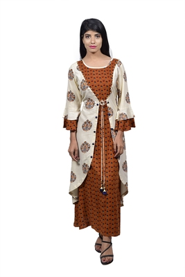 Brown embroidered rayon ethnic-kurtis