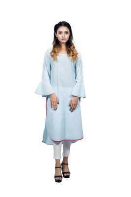 Turquoise embroidered rayon ethnic-kurtis