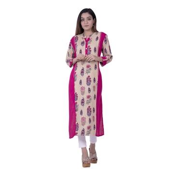 Pink embroidered rayon ethnic-kurtis