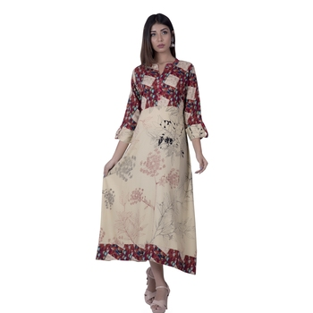 Multicolor embroidered rayon ethnic-kurtis