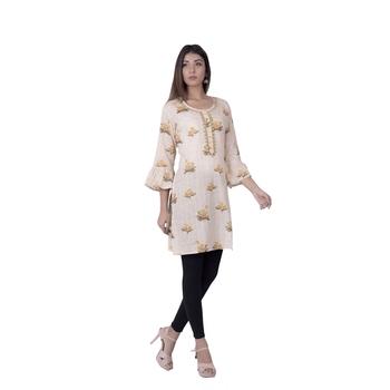 Cream embroidered rayon ethnic-kurtis