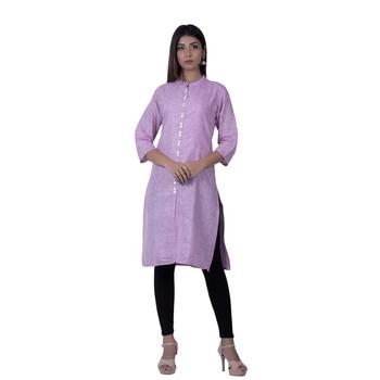 Purple embroidered cotton  ethnic-kurtis
