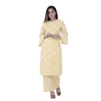 Yellow embroidered cotton  ethnic-kurtis