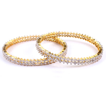 Attractive Gold Plated 2-line Bangles with  stone setting
