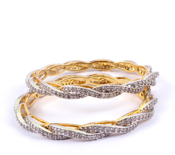 Pretty Gold Plated   Tangled Bangles