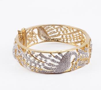 Glamourous  stones Mayura Pattern Gold Plated Kada
