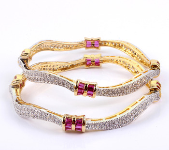 Delightful  Micro-Setting Curvy Bangles with Elegant Pink Baguette