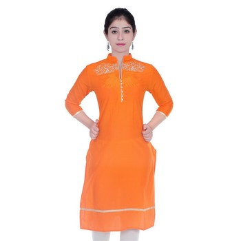 orange printed Cotton stitched kurti