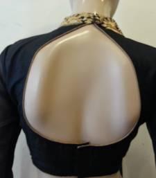 Black dupion silk highneck zari embroidered blouse