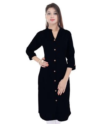 black printed Cotton stitched kurti