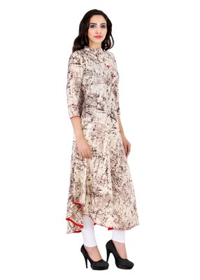 brown printed Cotton stitched kurti