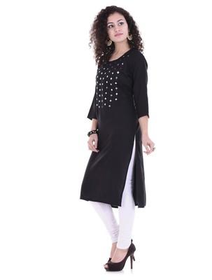 black printed Rayon stitched kurti