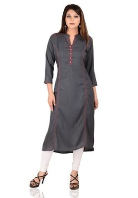 grey printed Rayon stitched kurti