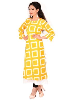 yellow printed Rayon stitched kurti