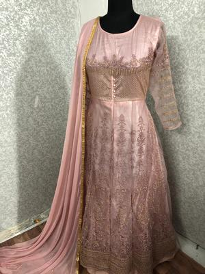 Pink embroidered net salwar