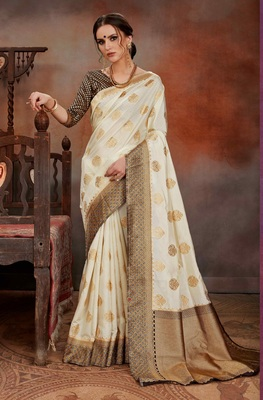 off-white woven Silk blend Saree with blouse